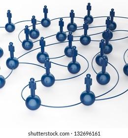 3d blue human social network as concept