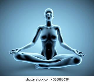 3d blue meditating woman - x-ray version