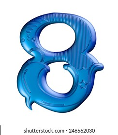 3D blue number 8 in the old vintage style on isolated white background.