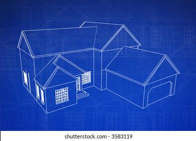 3d blue print style rendered house on grungy floor plan schematics