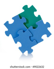 3D blue puzzle isolated on white background.
