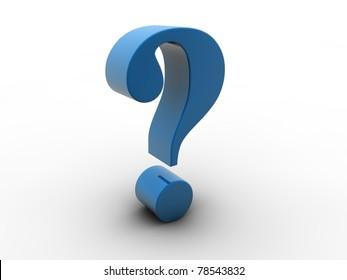 3D blue question mark