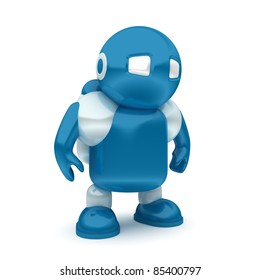 3d blue robot isolated