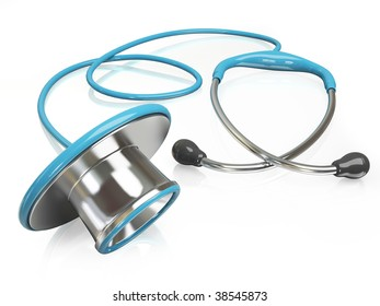 3d blue stethoscope Isolated with reflection