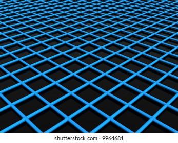 3d blue web slightly above the black floor
