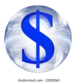 3d blue and white glass sphere isolated on white,with 3d symbol for web design buttons.US dollar sign or money mark.