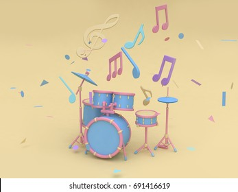 3d blue-pink radio drum set with many music note,key sol cartoon style soft yellow minimal background 3d rendering