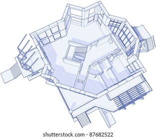 3 d blueprint house vector technical draw vector de stock17455744 3d blueprint house technical draw bitmap copy my vector id 17455744 malvernweather Image collections