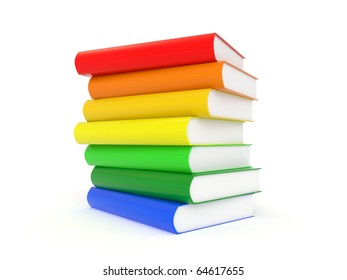 3d books in rainbow colors