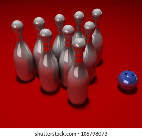 3d bowling and ball