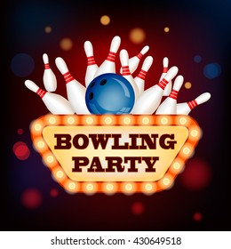 3d Bowling Ball into the pins with Retro Vintage neon Sign of bowling party