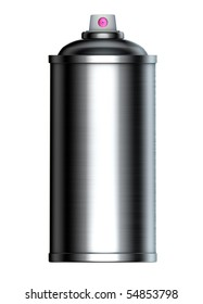 3d brushed metal graffiti spray can on a white background
