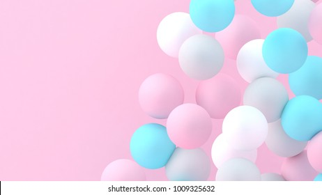 3d bubbles. Spheres background. Abstract wallpaper. Flying geometric shapes. Trendy modern illustration.  Falling abstract balls. Colorful poster backdrop. Minimal style.