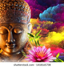 3D Buddha Colourfull background - Image