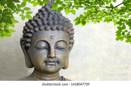 3D Buddha with Green leaves - Image