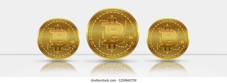 3D Business Gold Bitcoins on the background of wall. Reflection BTC.
