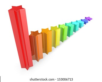 3d business graph from colorful stars