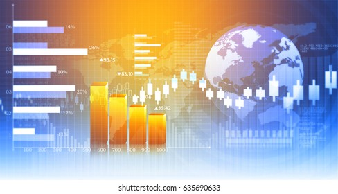 3d Business growth chart. Global financial charts on abstract business background