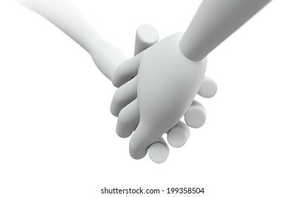 3D Business hand shake partnership Concept of success illustration, isolated