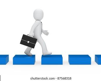 3d business man going blue cube way