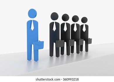 3D Business man lead the team