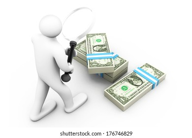 3d business Man with magnifier and dollars. Searching money