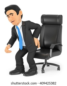 3d business people. Businessman with back pain. Isolated white background.