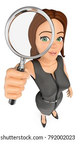 3d business people illustration. Businesswoman looking through a magnifying glass. Isolated white background.