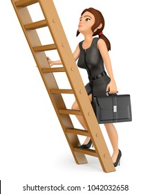 3d business people illustration. Business woman climbing up a wooden ladder. Job promotion. Isolated white background.