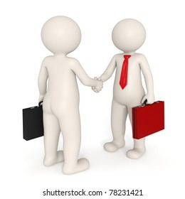 3d business people making a deal and shaking hands - Isolated