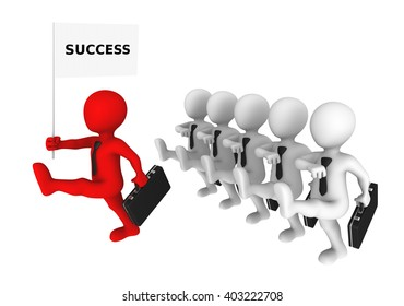 3d business people with red leader marches to success. 3d illustration.