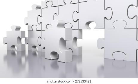 3D. Business, Puzzle, Teamwork.