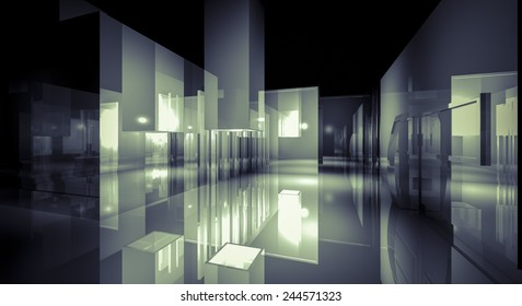 3d business room, Hall  building with light and reflects. modern design concept