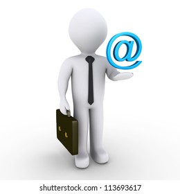 3d businessman with blue e-mail symbol over his hand