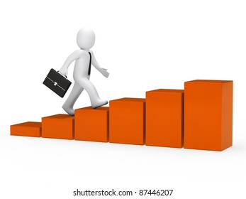 3d businessman with briefcase run to success