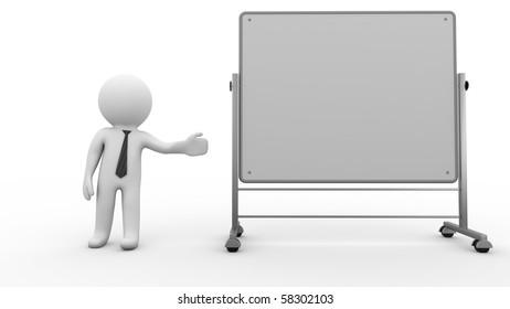 3d Businessman cartoon character shows empty whiteboard