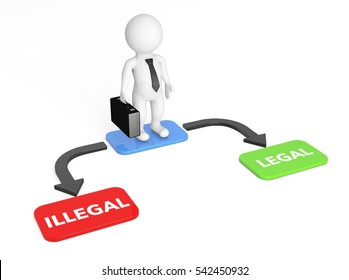 3d Businessman with Choice Arrow Points Legal and Illegal on a white background. 3d Rendering