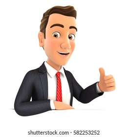 3d businessman with his elbow on the wall and thumb up, illustration with isolated white background