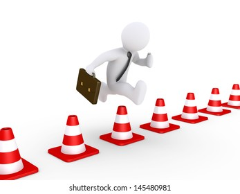 3d businessman is jumping over traffic cones