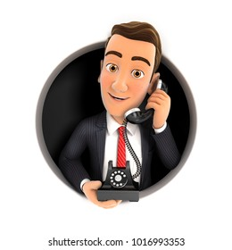 3d businessman making phone call inside circular hole, illustration with isolated white background