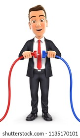 3d businessman plugging two power cords, illustration with isolated white background