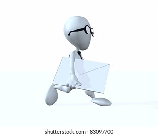 A 3d businessman running with a letter envelope in his hand