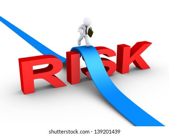 3d businessman is running on path over the word RISK