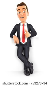 3d businessman standing in front of wall with thumb up, illustration with isolated white background