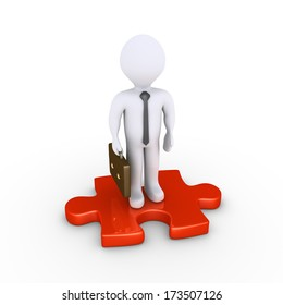 3d businessman is standing on a red puzzle piece