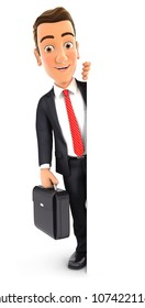 3d businessman with suitcase behind blank wall, illustration with isolated white background