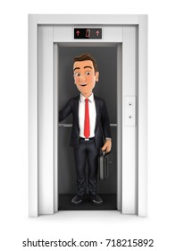 3d businessman taking the elevator, illustration with isolated white background