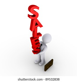 3d businessman trying to balance red SALES letters