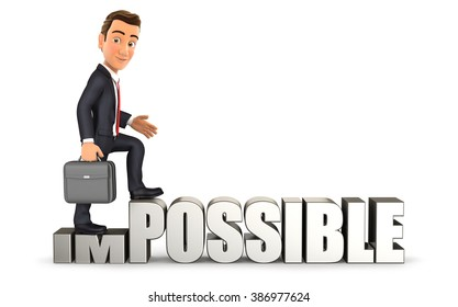 3d businessman turning impossible into possible, isolated white background