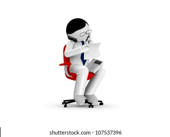 3D businessman using a phone on White Background